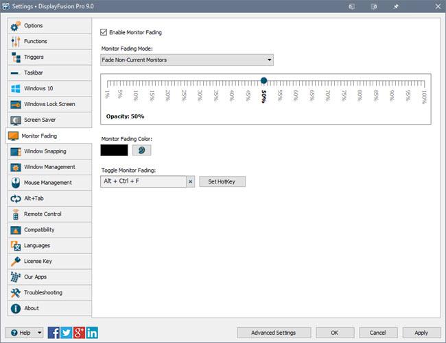 Monitor Fading Settings