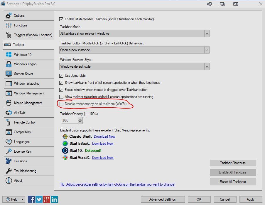 Multi-monitor Taskbar Transparency in Windows 10