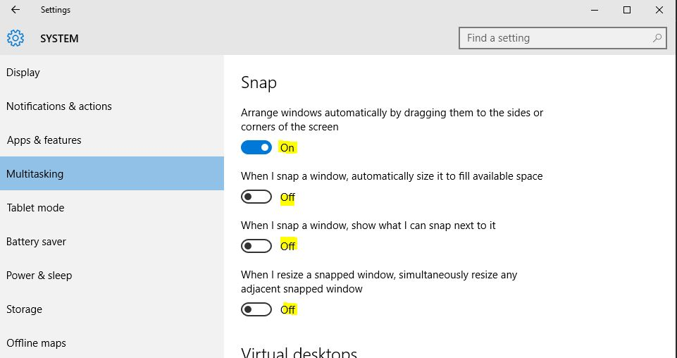 Windows 10 - Dual Monitors - Window Snapping Issue: Snags on